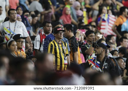 KUALA LUMPUR, MALAYSIA 27 AUGUST 2017: Supporters of the athletes at the 29th Sea Sports Tournament Bukit Jalil National Stadium, Malaysia.