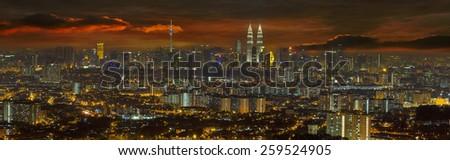Kuala Lumpur Malaysia Cityscape Dramatic Sunset Panorama - stock photo