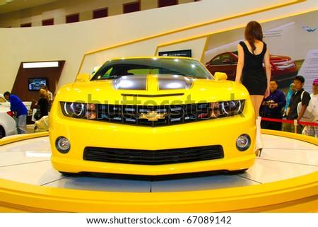 KUALA LUMPUR, MALAYSIA - DEC 10: Chevrolet Camaro from Transformers were displayed at Kuala Lumpur International Motor Show on December 10, 2010 in Kuala Lumpur Malaysia - stock photo