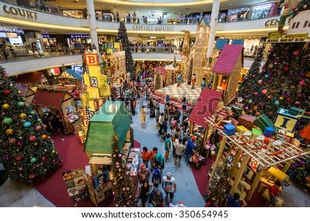KUALA LUMPUR, MALAYSIA - DEC, 2015 : Christmas decoration setup in Mid Valley Megamall taken on 10 December 2015. - stock photo