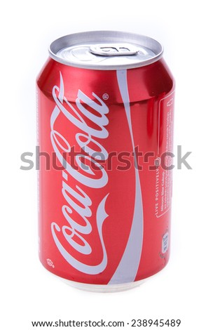 Kuala Lumpur, Malaysia - Dec 21, 2014: Coca-Cola isolated on white background. Coca-Cola is a carbonated soft drink sold in stores, restaurants, and vending machines throughout the world.  - stock photo