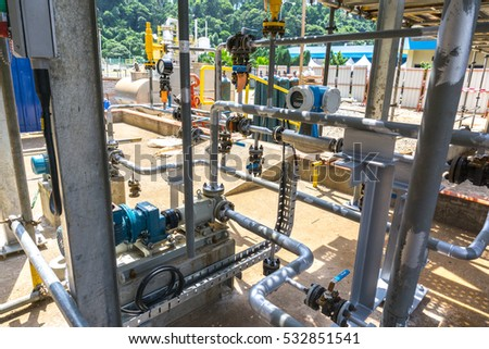 KUALA LUMPUR,MALAYSIA - 9 DEC 2016 : Piping layout with electrical motor and mechanical pump at industry application