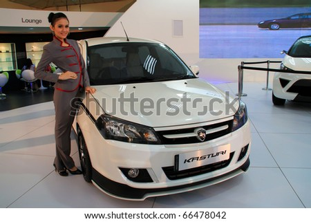 "KUALA LUMPUR, MALAYSIA - DEC 3: Proton Concept Car Saga ""Kasturi"" on display at Kuala Lumpur International Motor Show on December 3, 2010 in Kuala Lumpur Malaysia - stock photo"