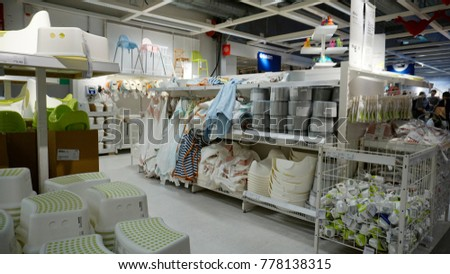 Kuala Lumpur, Malaysia – 20 DECEMBER 2017: Interior of baby stuff area showcase, large IKEA store with a wide range of products in The Curve, Damansara, Kuala Lumpur.