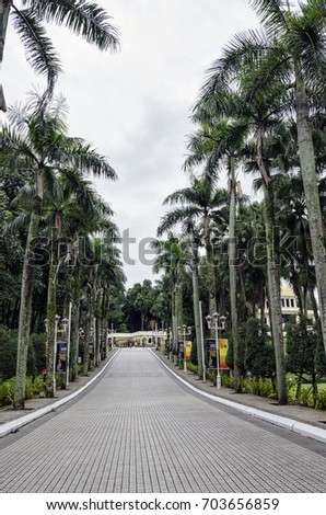 Kuala Lumpur, Malaysia - 11 December, 2016: Path leading to Istana Negara, Kuala Lumpur. It is now is Royal Museum and was the former residence of the Yang di-Pertuan Agong (Supreme King) of Malaysia.
