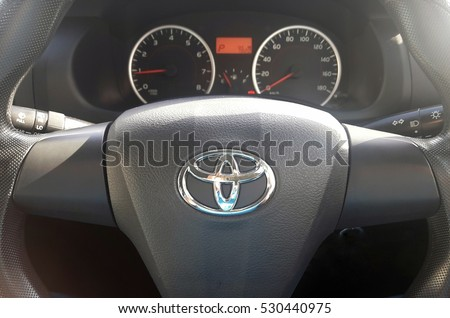 KUALA LUMPUR, MALAYSIA, DECEMBER 6, 2016 : View of Toyota Wish steering and meter. Focus on Toyota logo.