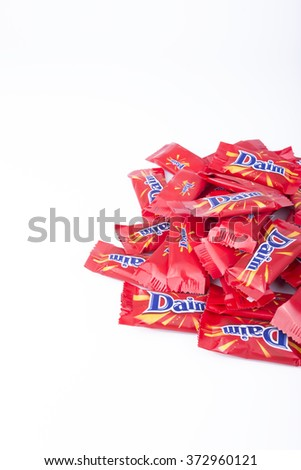 KUALA LUMPUR,MALAYSIA-7 FEB 2016 - Daim candy in isolated white.Daim was created after research into a similar product produced by American company heart.It crunchy butter almond cover with chocolate.