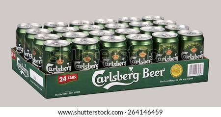 Kuala Lumpur, MALAYSIA - FEBRUARY 8, 2015: 320ml can of Carlsberg lager Isolated On White Background. - stock photo