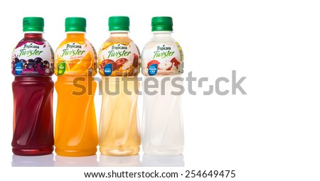 KUALA LUMPUR, MALAYSIA - FEBRUARY 22ND 2015. Tropicana bottled fruit juices. Tropicana Products Inc. is an American fruit juice multinational company and has been owned by PepsiCo since 1998.