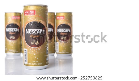 KUALA LUMPUR, MALAYSIA - FEBRUARY 13TH 2015. Nescafe can drink. Nescafe is a brand of instant coffee made by Nestle, a Swiss multinational food and beverage company, first introduced on April 1, 1938.