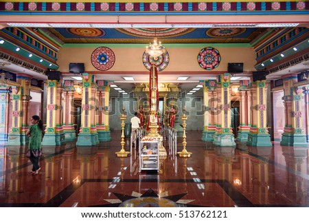 Kuala Lumpur, Malaysia -January 7, 2016: Inside of Sri Mahamariamman Hindu temple in Chinatown. It is the oldest in Kuala Lumpur, was founded in 1873