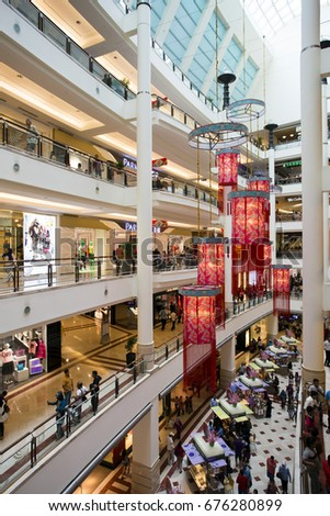 Kuala Lumpur, Malaysia - January 27, 2017: Interior of Suria KLCC a shopping mall located in the world famous Petronas Twin Towers in central Kuala Lumpur, Malaysia.