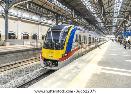 KUALA LUMPUR, MALAYSIA - JANUARY 10, 2016: Light railway train at KL Sentral station. KL Sentral is a major transport hub of Kuala Lumpur opened in 2001.