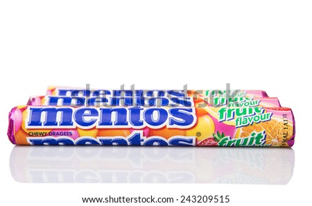 KUALA LUMPUR, MALAYSIA - JANUARY 11TH, 2015. Mentos Fruit scotch mints. Mentos is sold in more than 130 countries by Perfetti Van Melle, Italian global manufacturer of confectionery and gum.