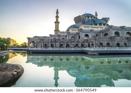 KUALA LUMPUR, MALAYSIA - JANUARY 10, 2016: View of external Wilayah mosque early morning after fajr time. - stock photo