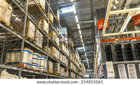 KUALA LUMPUR, MALAYSIA - JANUARY 25, 2015: Warehouse storage in an IKEA store. Founded in 1943, IKEA is the world's largest furniture retailer. IKEA operates 351 stores in 43 countries. - stock photo