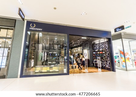 KUALA LUMPUR, MALAYSIA - JUL 2016 - The outer facade of the Fred Perry boutique in Pavilion KL shopping mall taken on 16 July 2016. Pavilion KL is a shopping mall located in Bukit Bintang.