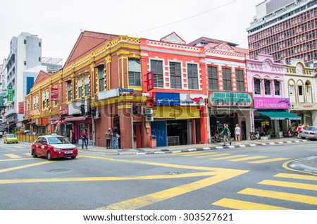 Kuala Lumpur,Malaysia - July 13, 2015 : General traffic view of Kuala Lumpur nearby Petaling Street in Malaysia. It usually crowded with locals as well as tourists.