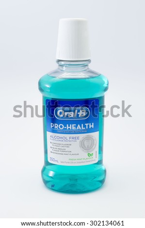 KUALA LUMPUR, MALAYSIA - JULY 31th 2015. Oral-B mouthwash. Oral-B mouthwash is Alcohol free and cleans your whole mouth leaves your breath refreshed. - stock photo