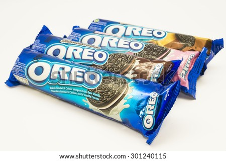 KUALA LUMPUR, MALAYSIA - JULY 30th 2015. Variety of Oreo flavors. Oreo is a sandwich cookie with a sweet cream is the best selling cookie in the US - stock photo