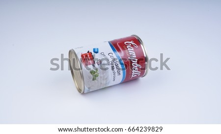 KUALA LUMPUR, MALAYSIA -JUN 21, 2017: A can of Campbell's Cream of Mushroom soup. Campbell's is an American producer of canned soups and related products.