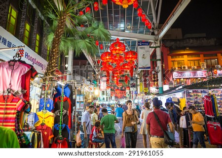 KUALA LUMPUR, MALAYSIA - JUNE 25: Chinatown Street restaurant in heart of Kuala Lumpur, on June 25, 2015 in KL. Chinatown is very popular with tourists and locals.   - stock photo
