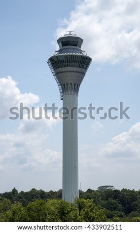 KUALA-LUMPUR, MALAYSIA - June 8, 2016 : Control tower of Kuala Lumpur International Airport (KLIA). KLIA is Malaysia's main airport and the largest and busiest airport in Malaysia.