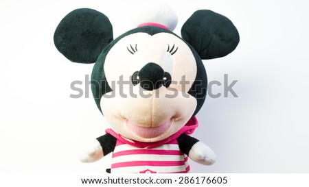 Kuala Lumpur, Malaysia - June 6, 2015 : Figure toy of cute baby Minnie Mouse doll. Minnie Mouse is a cartoon character as Mickey Mouse girlfriend which was created by Walt Disney - stock photo