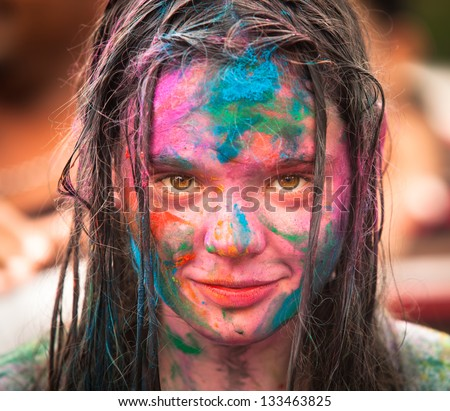 KUALA LUMPUR, MALAYSIA - MAR 31: Unidentified girl during Holi Festival of Colors, Mar 31, 2013 in Kuala Lumpur, Malaysia. Holi, marks the arrival of spring, being one of the biggest festivals in Asia - stock photo