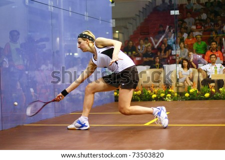 KUALA LUMPUR, MALAYSIA - MARCH 19: Alison Waters, England in action during her semifinal game at the CIMB KL Open Championship 2011 on March 19, 2011 Kuala Lumpur, Malaysia.