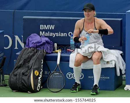 Kuala Lumpur, Malaysia, March 02 2013: American Bethanie Mattek-Sands takes a break during the final match of the WTA Malaysian Open tennis tournament - stock photo