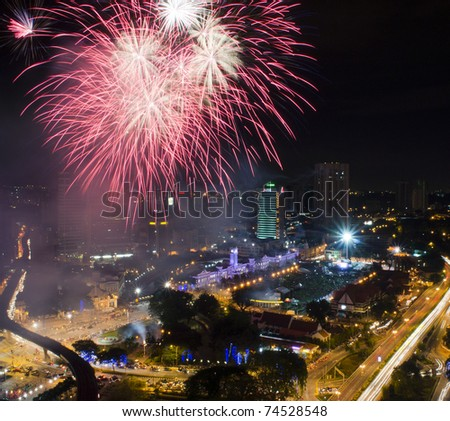 KUALA LUMPUR, MALAYSIA - MARCH 26: Exploding fireworks in honor of the 20 Metro Daily on Mar 26, 2011 in Kuala Lumpur. Metro Daily is the best-selling newspaper in Malaysia