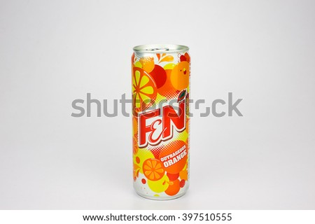 KUALA LUMPUR, MALAYSIA - March 26, 2016. F&N can Isolated On White. F&N is a soft drink, created by Fraser and Neave Limited (F&N) in Singapore since 1883. - stock photo