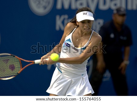 Kuala Lumpur, Malaysia, March 04, 2013: Hsieh Su-Wei of Taiwan returns a shot during the WTA Malaysian Open tennis tournament.