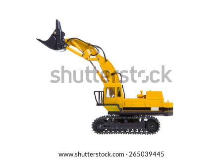 Kuala Lumpur, MALAYSIA - MARCH 30, 2015: Komatsu crawler excavator isolated on white background. A crawler excavator or digger is a vehicle designed to dig and move large objects - stock photo