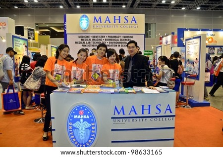 KUALA LUMPUR, MALAYSIA - MARCH 17: Mahsa University College promote the exhibition during the Falcon Education Fair 2012 at Kuala Lumpur Convention Centre (KLCC) March 17, 2012 in Kuala Lumpur. - stock photo