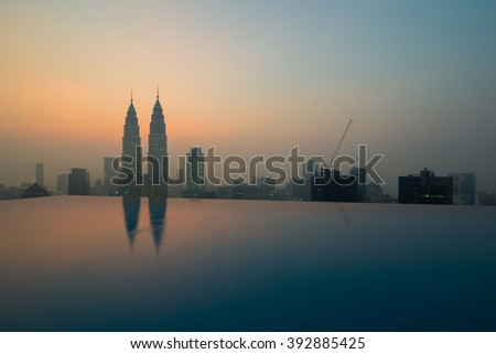 KUALA LUMPUR,MALAYSIA-MARCH 17 2016:Petronas twin tower views from a tall building during hazy sunrise.  The image looks soft due to haze