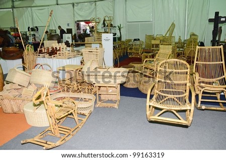 KUALA LUMPUR, MALAYSIA - MARCH 30: Rattan handicraft exhibition by traders during National Craft Day 2012 at the Kuala Lumpur Craft Complex on March 30, 2012 in Kuala Lumpur, Malaysia - stock photo
