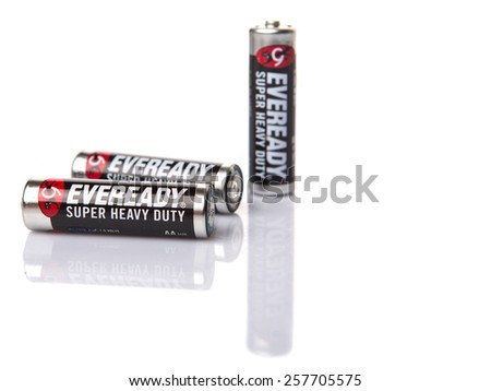 KUALA LUMPUR, MALAYSIA - MARCH 3RD 2015. Eveready AA batteries. Energizer Holdings is an American manufacturer of batteries and are sold in over 165 countries worldwide. - stock photo