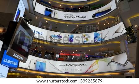 KUALA LUMPUR, MALAYSIA - March 31, 2016. Samsung advertising inside the shopping mall in Kuala Lumpur. - stock photo