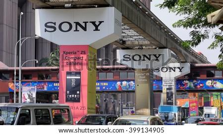 KUALA LUMPUR, MALAYSIA - March 31, 2016. Sony advertise new products on electric train pillars bridge in Kuala Lumpur - stock photo