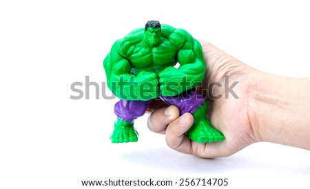 Kuala Lumpur, Malaysia - March 01 ,2015: The Hulk toy character from Hulk and The Avengers movie franchise. There are plastic toy sold as part of the McDonald's Happy meals promotion for movie fans.