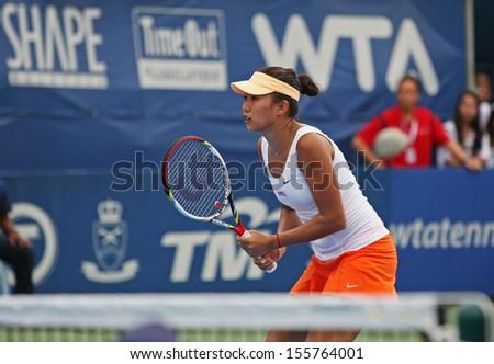Kuala Lumpur, Malaysia, March 02, 2013: Zhang Shuai of China gestures during the WTA Malaysian Open tennis tournament. - stock photo