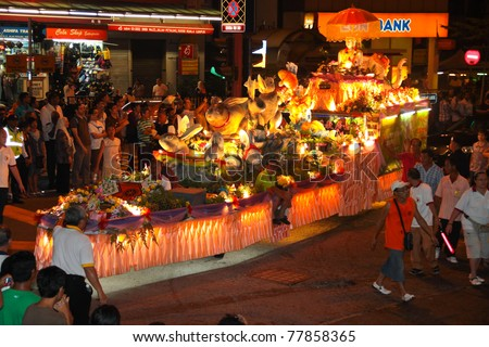 KUALA LUMPUR, MALAYSIA-MAY 17: A floats with rabbit mannequin on Wesak Day procession at Petaling Street, Malaysia on 17 May,2011.