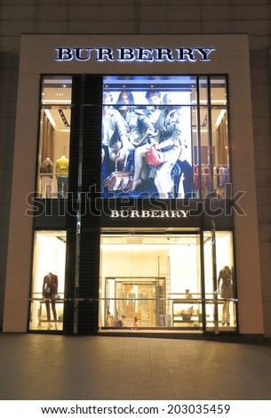 KUALA LUMPUR MALAYSIA - 25 May, 2014:Burberry shop in Bukit Bintang. Burberry is a British luxury fashion house distributing clothing, accessories and cosmetics founded in 1856.  - stock photo