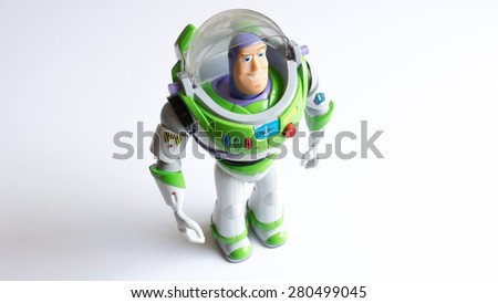 Kuala Lumpur, Malaysia - May 22, 2015: Buzz Lightyear robot toy character form Toy Story animation film. Buzz is a toy space ranger hero and one of the two lead characters in the Toy Story movie