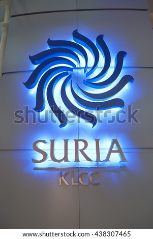 KUALA LUMPUR, MALAYSIA - MAY 09, 2016: close up shot of Suria KLCC logo. Suria KLCC is located in the Kuala Lumpur City Centre district. It is in the vicinity of the landmark the Petronas Towers. - stock photo