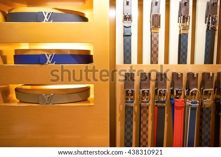 KUALA LUMPUR, MALAYSIA - MAY 09, 2016: inside of Louis Vuitton store. Louis Vuitton Malletier is a French fashion house founded in 1854 by Louis Vuitton. - stock photo