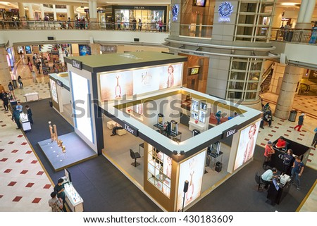 KUALA LUMPUR, MALAYSIA - MAY 09, 2016: inside of Suria KLCC shopping mall in Petronas Twin Towers. Suria KLCC is one of the largest shopping malls in Malaysia