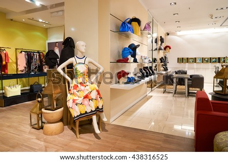 KUALA LUMPUR, MALAYSIA - MAY 09, 2016: interior of the store at Suria KLCC. Suria KLCC is located in the Kuala Lumpur City Centre district. It is in the vicinity of the landmark the Petronas Towers. - stock photo